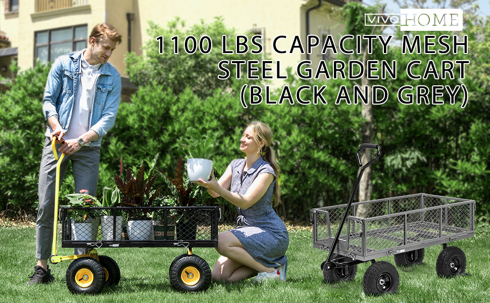 1100 lbs capacity mesh steel garden cart (black and grey)