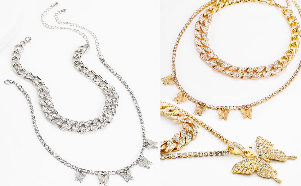 butterfly cuban link chain for women girls