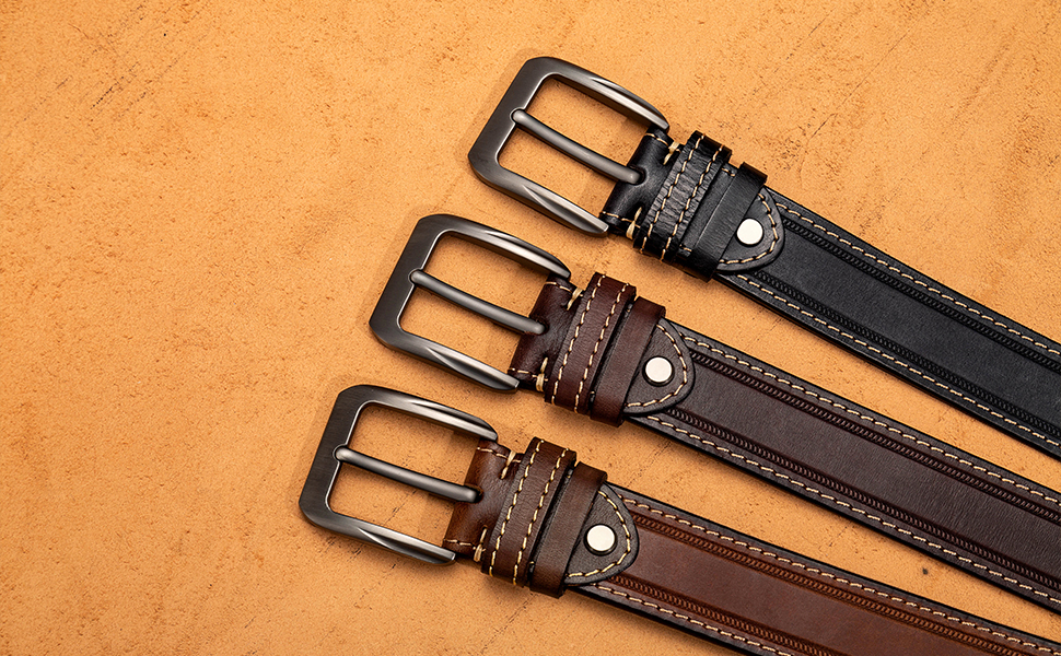 Nickel Free Belt for Men Work Leather Casual for Jeans