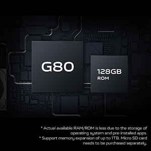 Helio G80 Processor with 128GB Storage, Expandable Up to 1TB