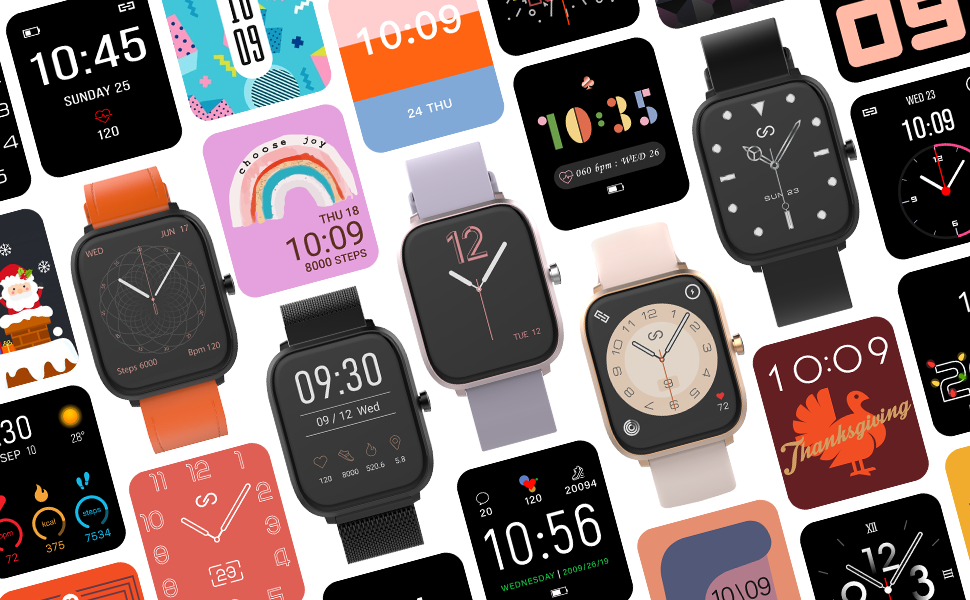 Various watch faces are offered