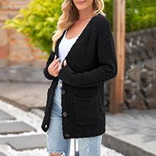 Oversized Boyfriend Chunky Fleece Open Front Long Sleeve Loose Knit Pocket Cardigan Coat