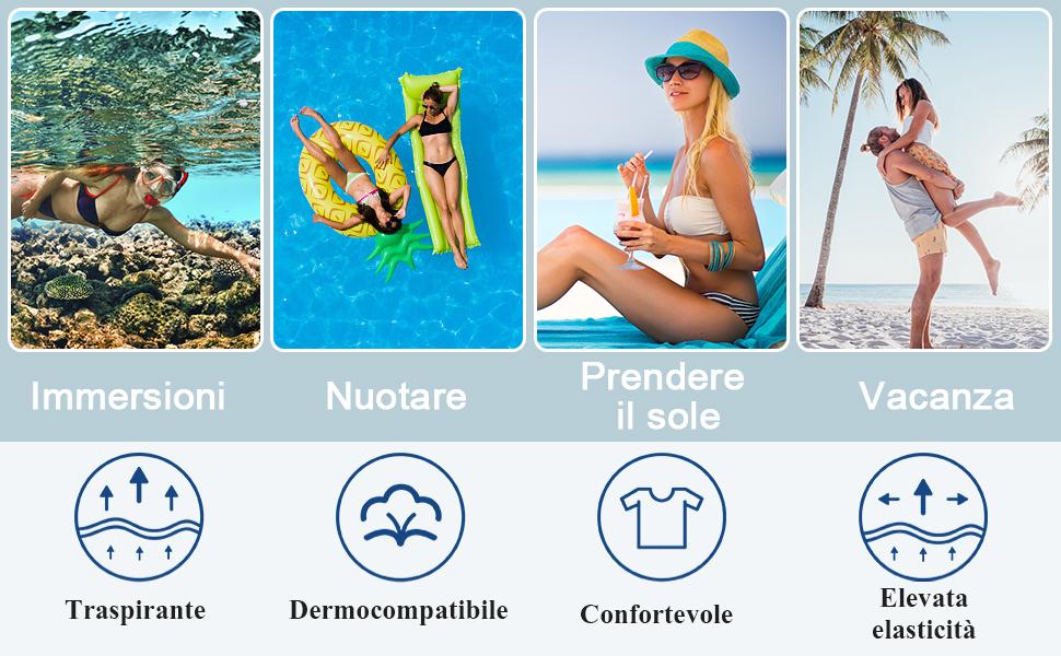 Ruffle Bandeau Bikini Donna Vita Alta, Costume Interi Donna, One Piece Costumi da Bagno Push Up