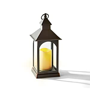 """Outdoor LED Candle Lantern 14"""" Tall, Battery Powered, 6 Hour Timer, Waterproof, Rustic Bronze Finish"""
