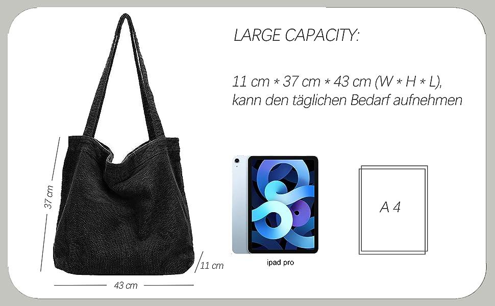 Canvas Tasche Damen Stofftasche Shopper Mädchen Groß Cord Tote Bag Schultertasche Leicht Schule