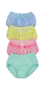 girls pack of four ruffle trim lace back panty panties