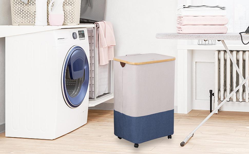 blue laundry hamper