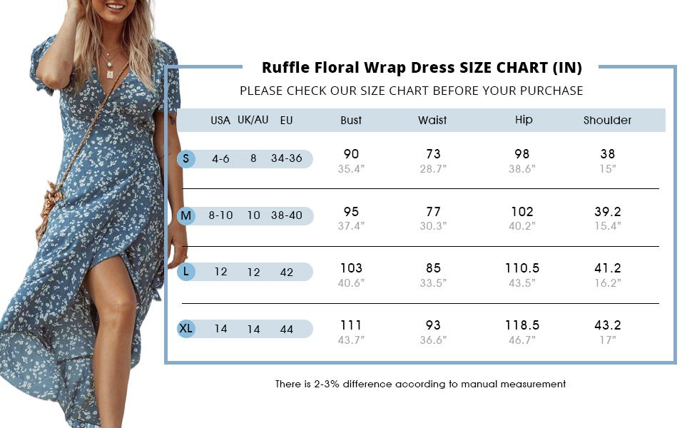 split maxi dress size chart