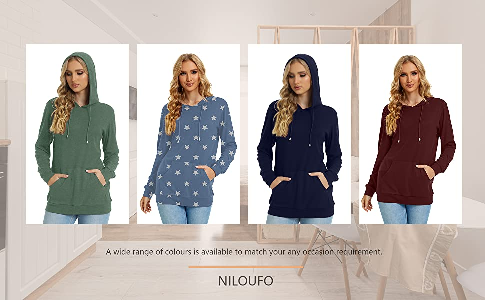 NILOUFO Womens Hoodies Long Sleeve Shirts Sweatshirts Tunic Tops with Kanga Pocket