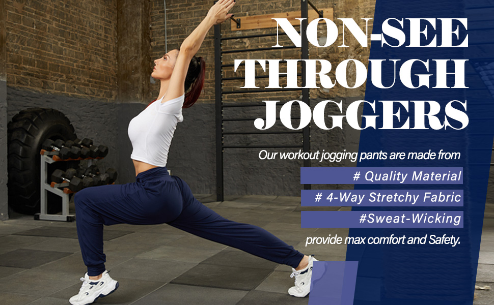 Non see through workout jogging pants quality  4 way strechy fabric sweat-wicking comfort safety