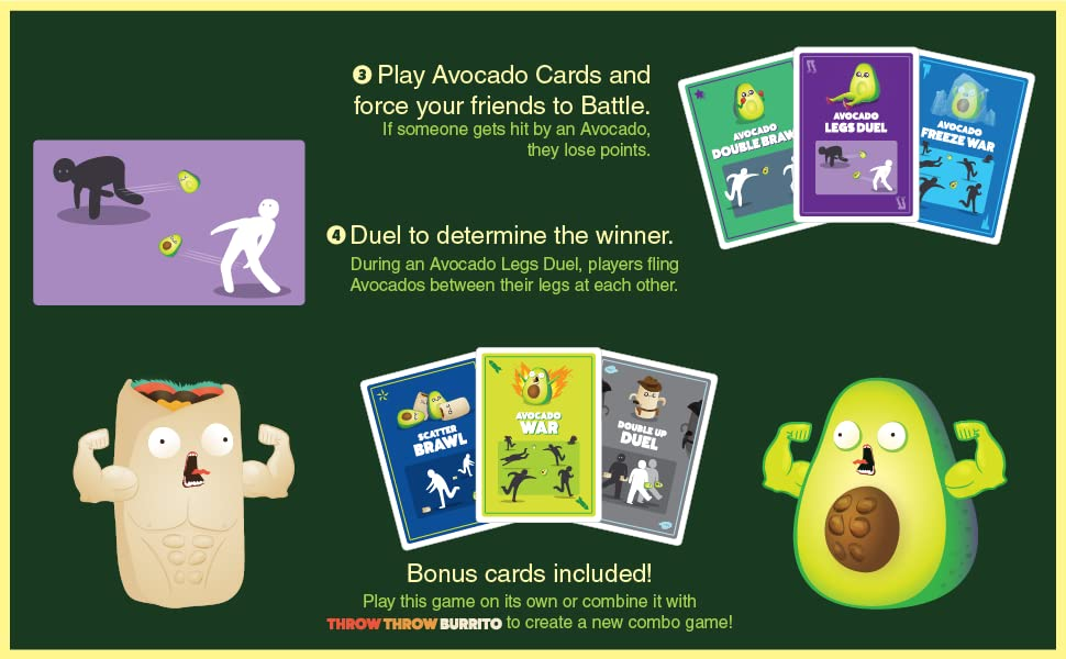 Play Avocado Cards and force your friends to battle. Duel to determine the winner.