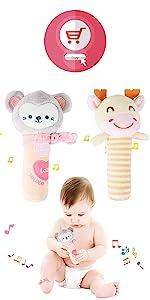 Baby Rattles Toys Soft Plush Hand Rattle Infant Developmental Hand Grip Toys Soft