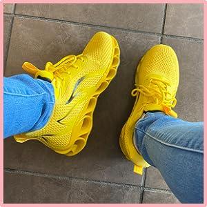 yellow women walking shoes