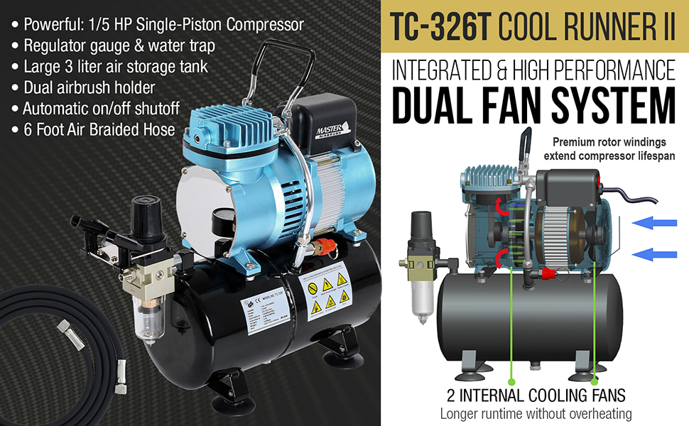 Cool Runner II Intergrated High Performance Dual Fan Airbrush Compressor with Storage Tank