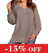 KIRUNDO Women's Winter Fuzzy Popcorn Sweater V Neck Long Sleeves Loose Fit Sweatshirt Solid Tops ...