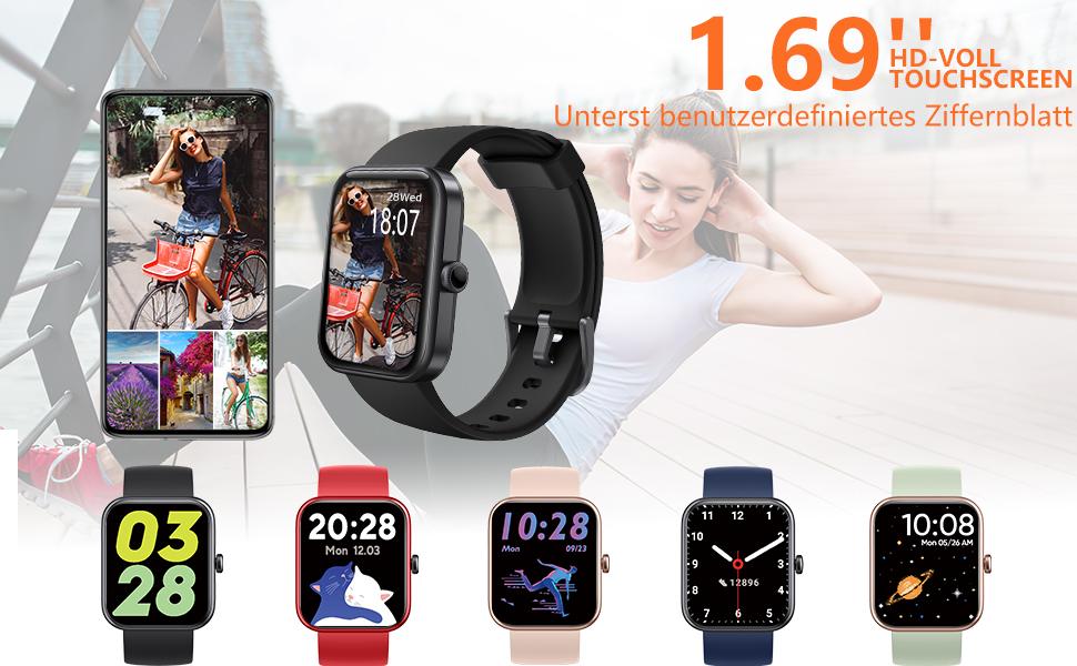 """1.69"""" HD-Voll-Touchscreen & benutzerdefiniertes Ziffernblatt"""