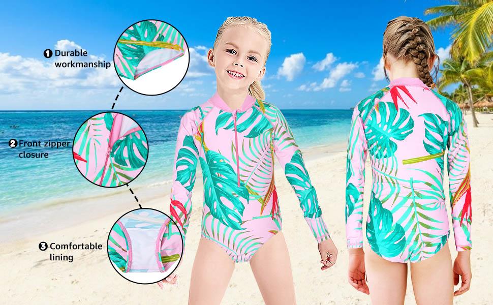 Girls Long Sleeve Swimsuits Rashguard