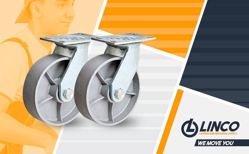 """Linco 4"""" Heavy Duty Steel Swivel Caster Wheels"""