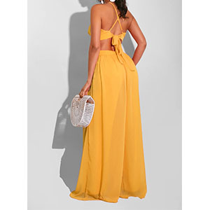 yellow backless jumpsuit