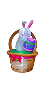 Inflatable Bunny with Basket and Egg