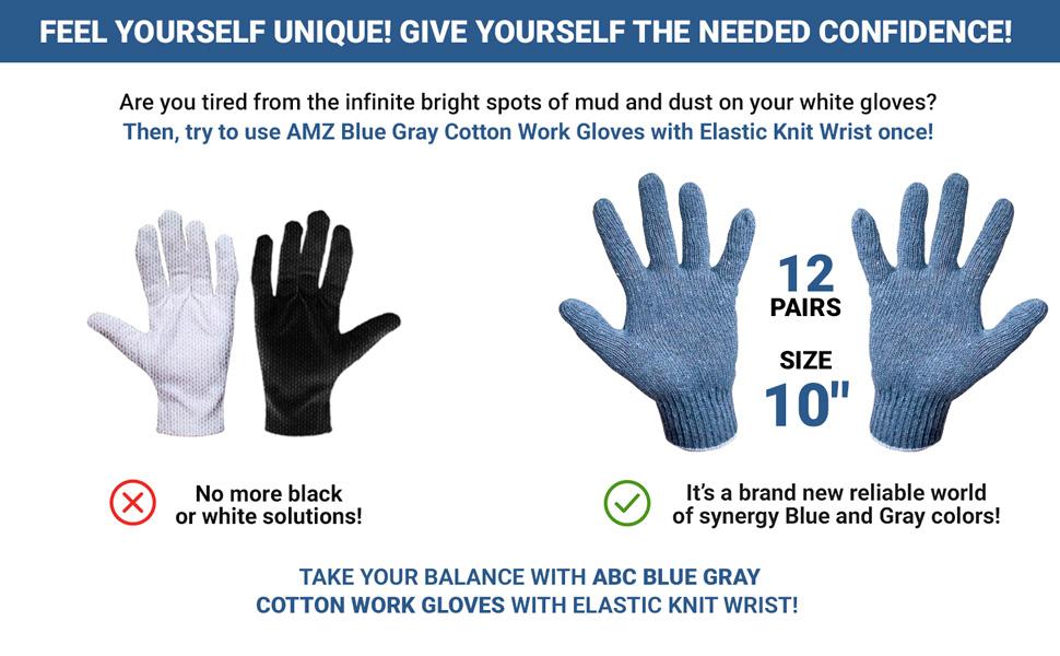 ABC Cotton Knit Gray Blue Gloves Work Gloves Men Bulk Pack Work Gloves Airsoft Blue Yard Gloves ABC