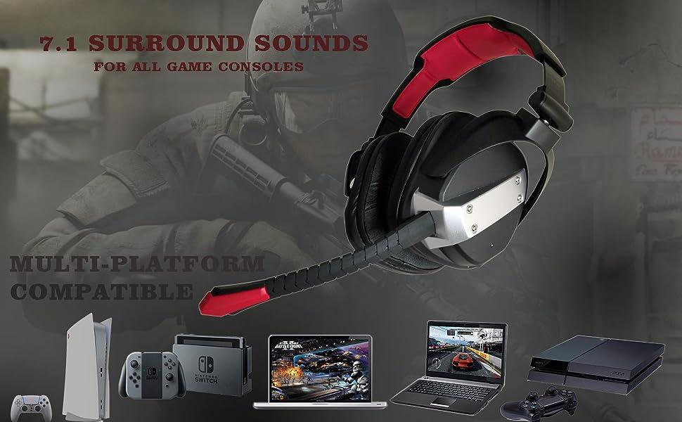 5 in 1 wireless game headphone