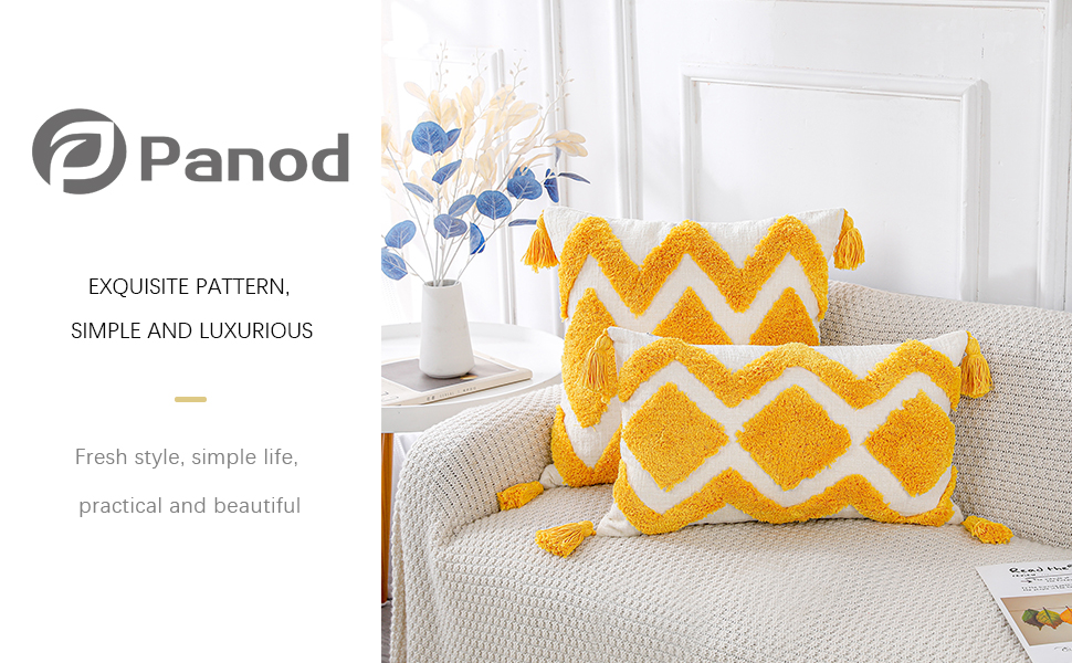 PANOD Boho Tufted Throw Pillow Covers with Tassel