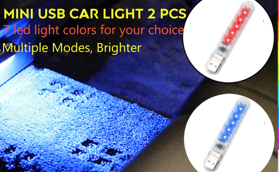 mini usb led light 2 pcs, 7 color ambient atmosphere light for cars, rooms