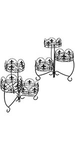 Sunnydaze French Lily Design Three Tiered Plant Stand - 22 Inch - Set of 2