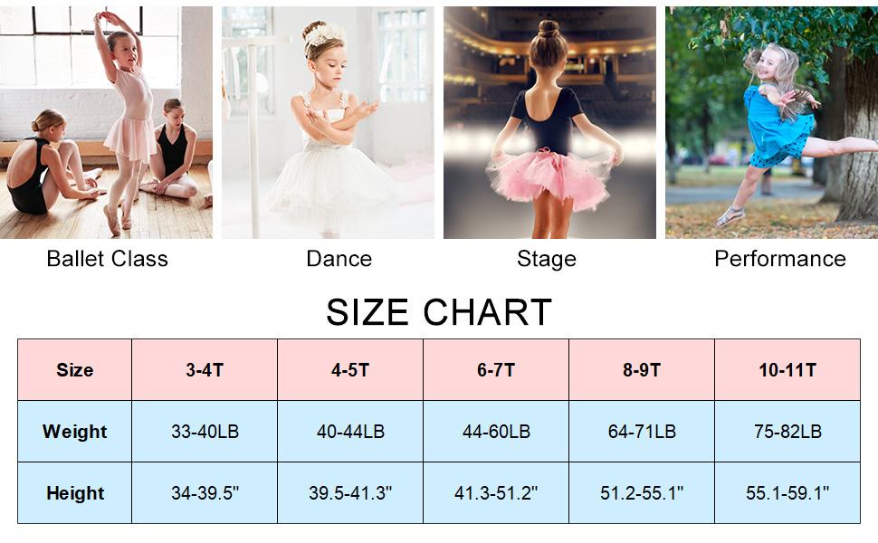 Girls Ballet Dance Dress Tutu Skirt Leotard Sparkle Ruffle Sleeve Ballerina Clothes for 3-11 Years