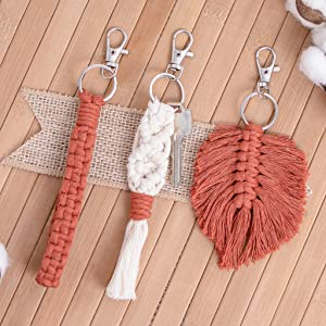 Color Options White Macrame Twisted Wristlet Keychains