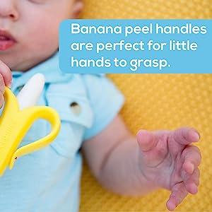 banana teether, banana toothbrush, baby toothbrush, infant toothbrush, silicone toothbrush