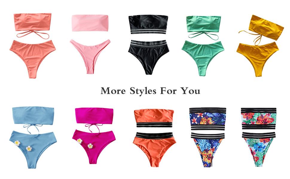 SweatyRocks Lace Up Bandeau Bikini Set High Cut Swimsuit