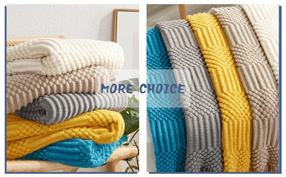 Avitalk Nordic Style Knitted Blanket with Tassels Soft Cozy Sofa Couch Blanket Throws