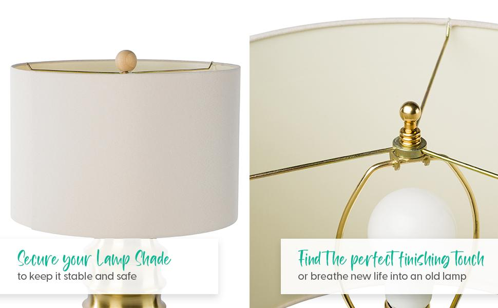 Two lamps side by side with matching finials, wood lampshade finial and gold lampshade finial