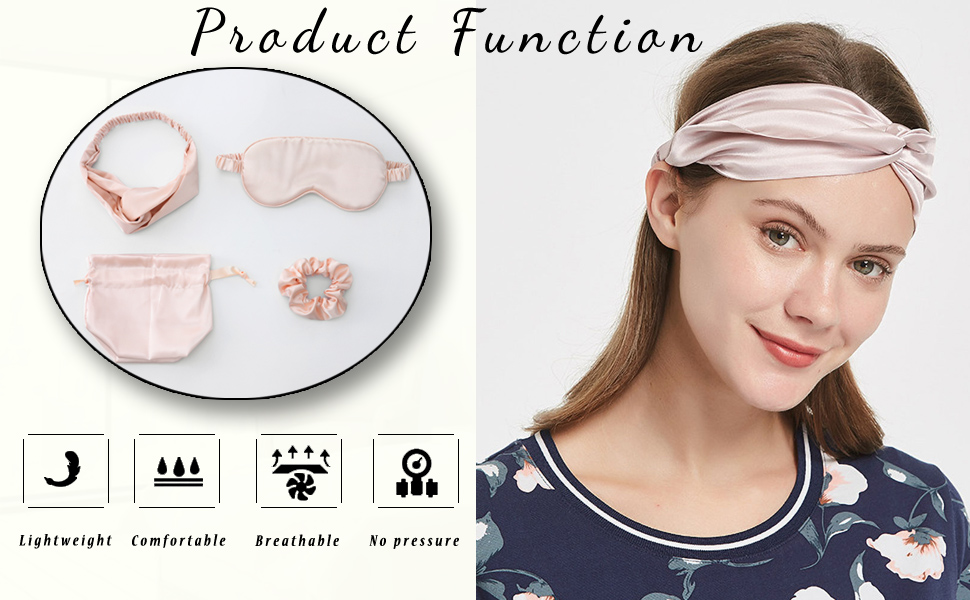 Champagne Mulberry Silk Eye Cover with Headbands and Hair Scrunchies Champagne