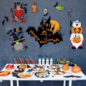 Halloween Wall Stickers Gnome Pumpkin Bat Skeleton