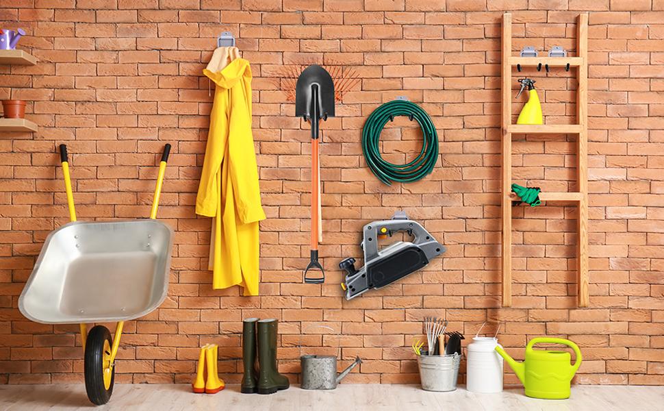 Waved mounted storage racks garage hooks save garage floor space gardening tools organizer space sav