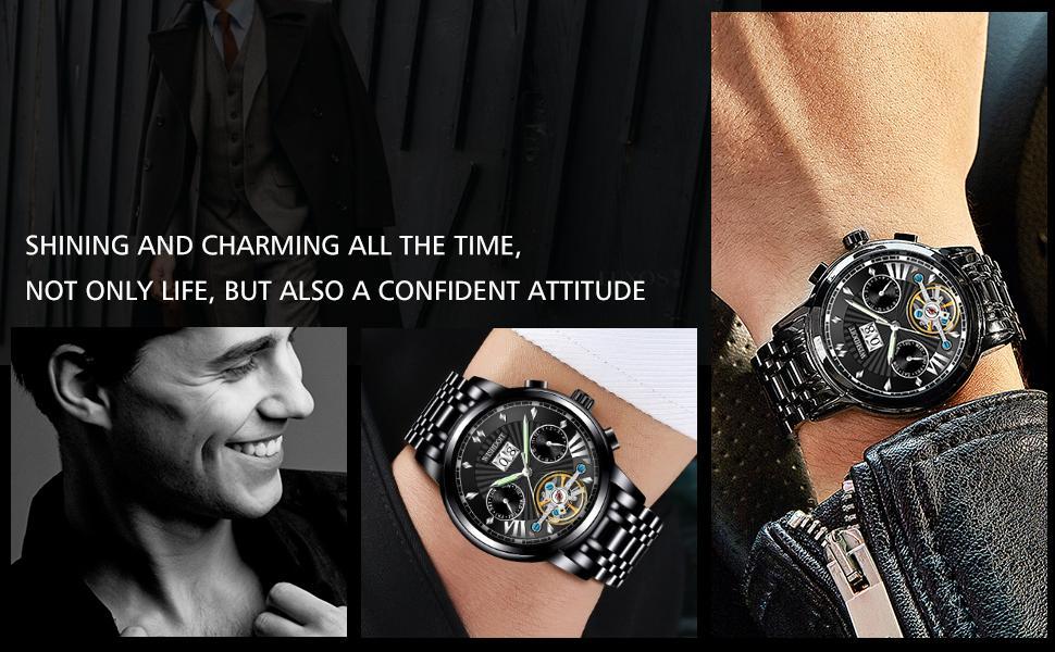 Automatic mechanical men's watch luminous waterproof