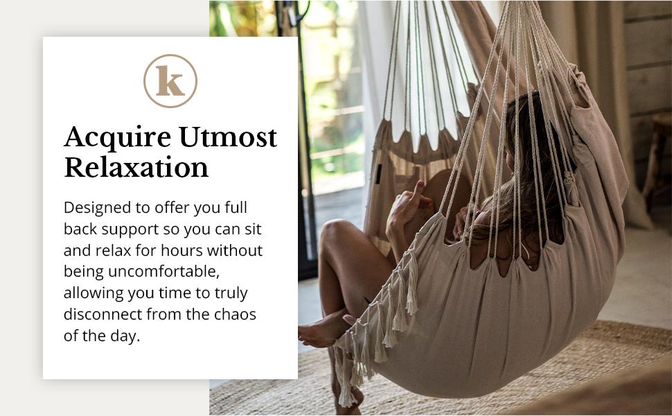 Komorebi Hanging Hammock Chair Ivory