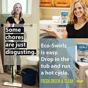 A picture of a woman cleaning the house and using Eco-Swirlz to make her cleaning easier
