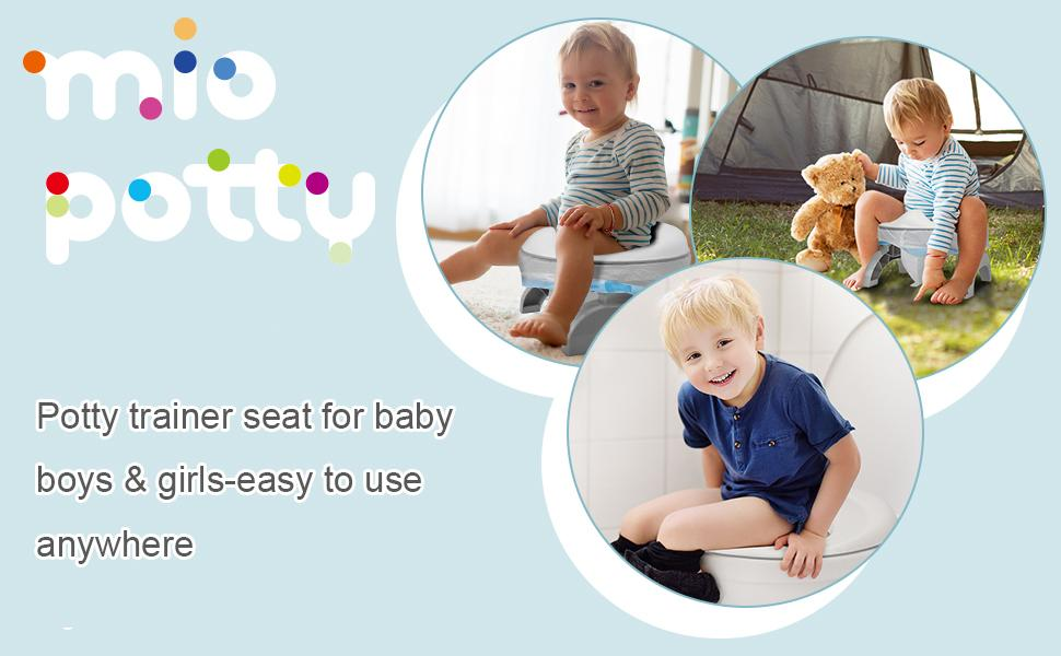 2-in-1 Mio Portable Potty Chair + Toilet Trainer for Toddler & Kids Travel