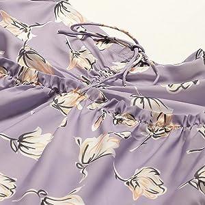 Lavender Floral Printed Sweetheart Neck Dress