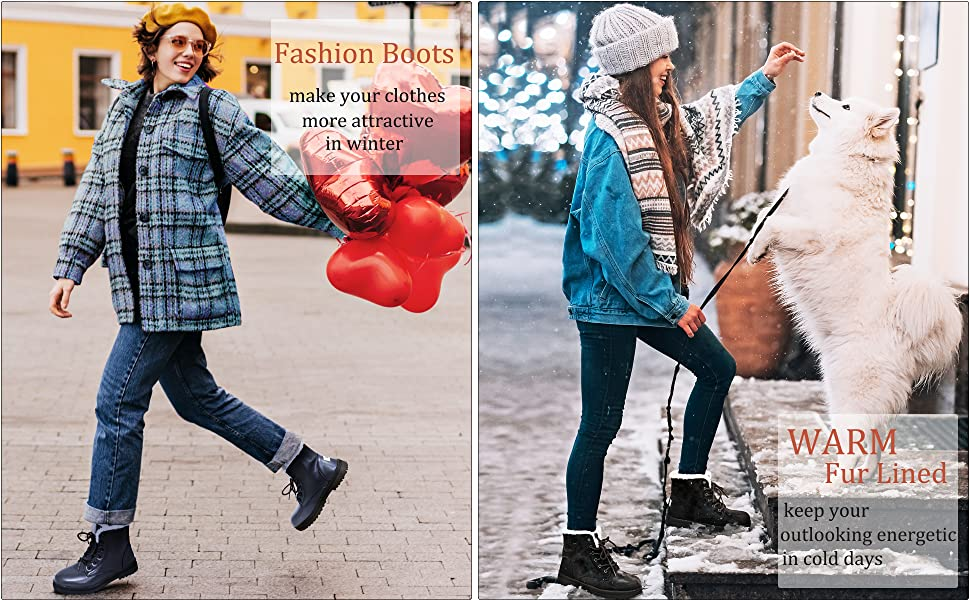 Winter Snow Boots for Women Comfortable Outdoor Anti-Slip Ankle Boots Suede Warm Fur Lined Booties