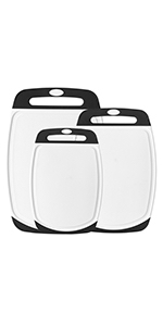 cutting board set of 3 plastic soft grip white and black