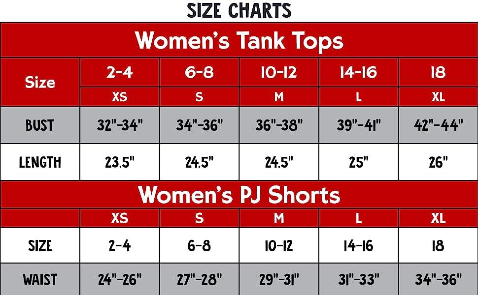 Tank amp;amp; Short Set Size Chart