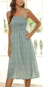 Smocked midi dress for women summer