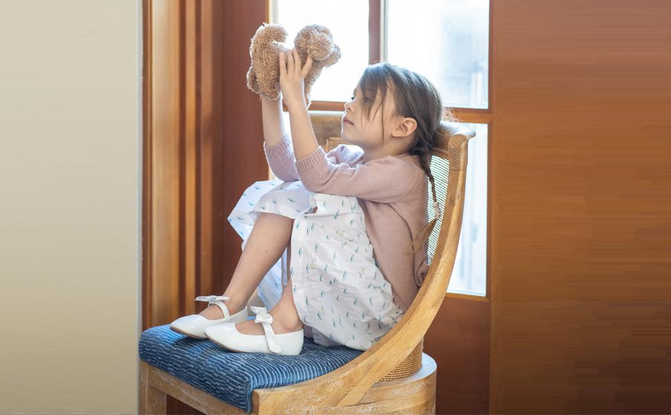 Felix and Flora Bear Mall white flower girl shoes toddler girl mary jane shoes ballet flats party