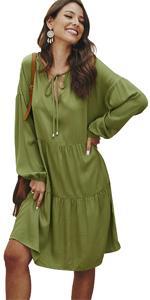 Women Long Sleeve V Neck Dress Casual Loose Empire Waist Midi Dress Lace Up Patchwork Plain Dress
