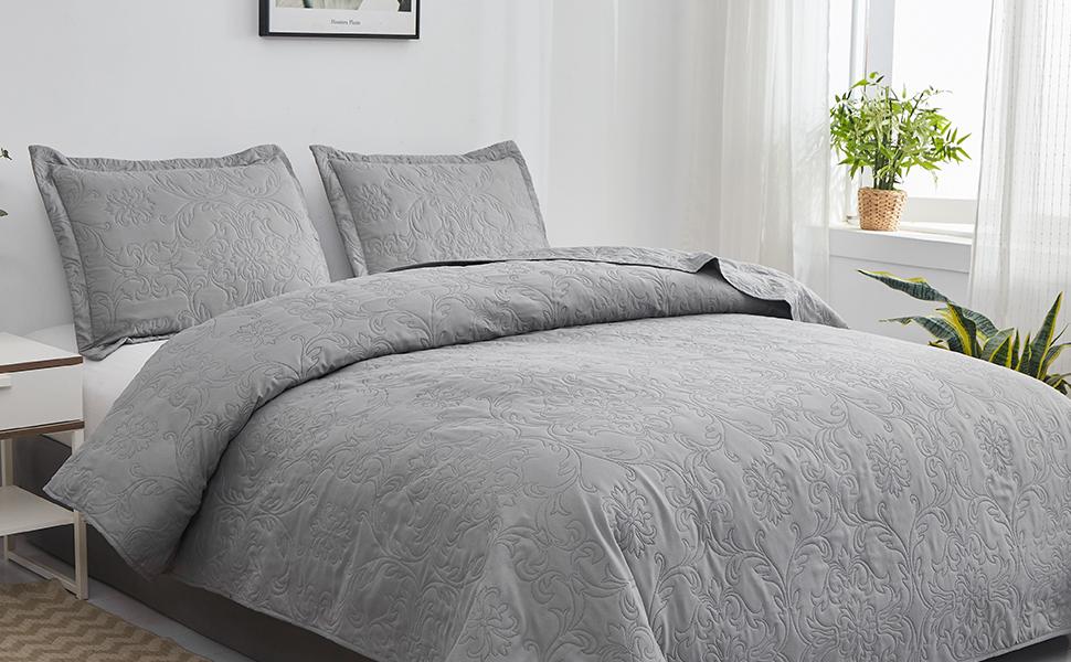 gray bedspread